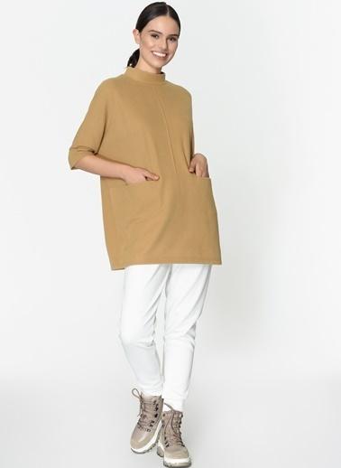 Loves You Çift Cep Loose Fit Selanik Sweatshirt Camel